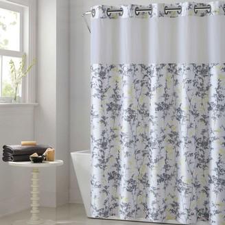 Hookless Floral Leaves Shower Curtain & Water Resistant Liner