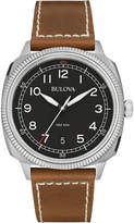 Bulova 42mm Men's Military Leather Watch