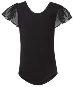 Flo Dancewear Big Girls Juliet Sequin Mesh Flutter-Sleeve Leotard