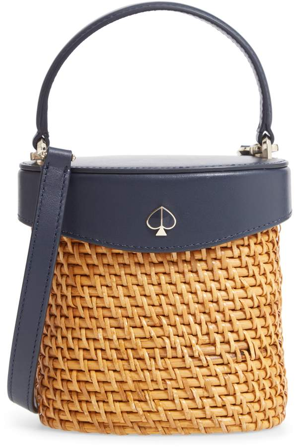 Kate Spade Mini Rose Rattan Bucket Bag