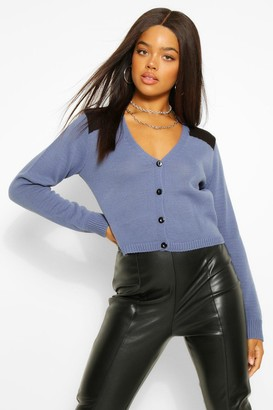 boohoo Shoulder Patch Utility Knitted Cardigan