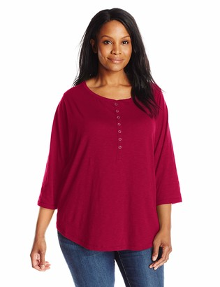 Riders by Lee Indigo Women's Plus Size Sassy 3/4 Sleeve Knit Shirt
