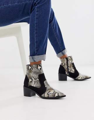 London Rebel kitten heel western boots in snake