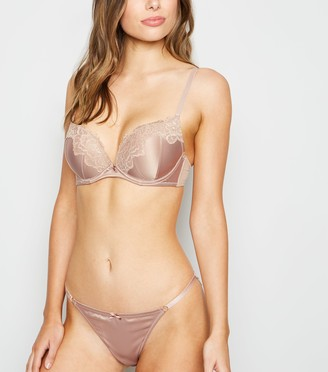 New Look Satin Scallop Lace Push-Up Bra