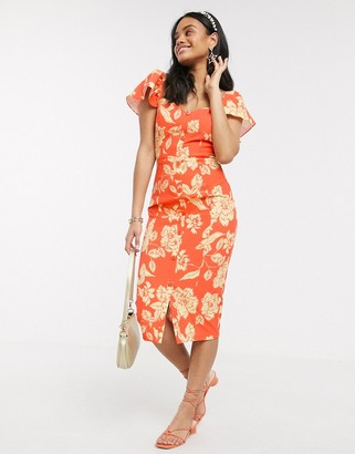 Paper Dolls flutter sleeve wiggle dress in orange floral
