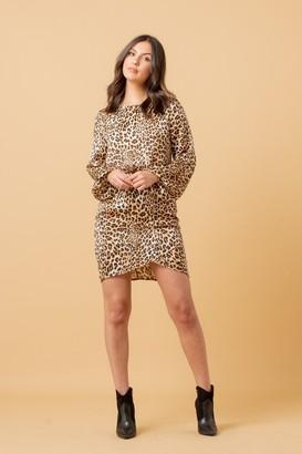 LIENA Leopard Wrap Skirt Mini Dress