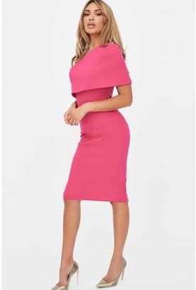 Lavish Alice One Shoulder Cape Dress - Pink