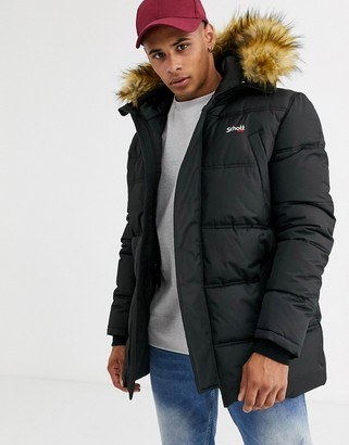 Schott Air detachable faux fur hood quilted parka jacket slim fit in black