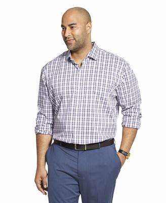 Van Heusen Men's Big & Tall Tall Traveler Stretch Long Sleeve Button Down Blue/White/Purple Shirt