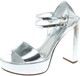 Louis Vuitton Metallic Silver Patent Leather Showcase Platform Sandals Size 39