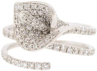 Anita Ko 18kt white gold Calla Lily diamond coil ring