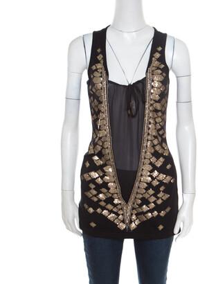 Roberto Cavalli Black Silk Sheer Panel Insert Embellished Sleeveless Top S