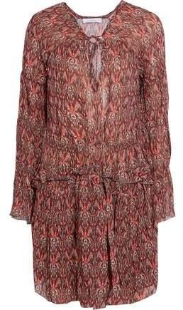 IRO Smocked Printed Georgette Mini Dress
