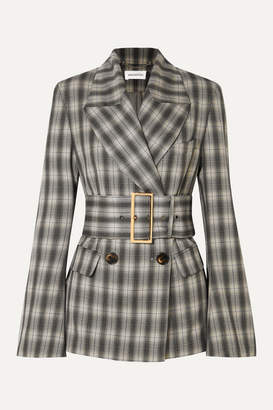 16Arlington Jaclyn Belted Double-breasted Checked Crepe Blazer - Gray