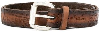 Orciani Slogan Embossed Buckle Belt