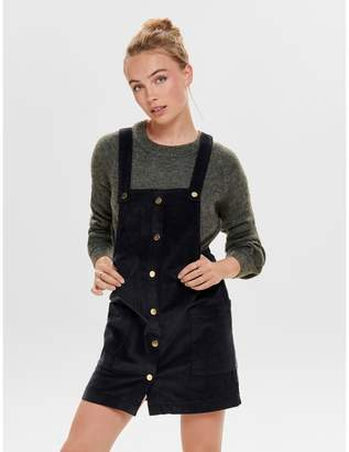 Only Corduroy Short Dungaree Dress with Pockets