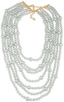 Carolee Gold-Tone Gray Imitation Pearl Multi-Row Necklace