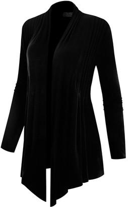 BB B+B Women's Open Cardigans Black - Black Pleated Open Cardigan - Women