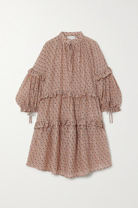 MUNTHE Maggie Metallic Tiered Ruffled Floral-print Cotton And Silk-blend Voile Dress - Blush