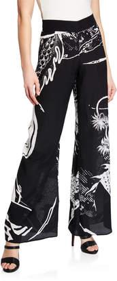 Balmain Dragon-Print Wide-Leg Silk Coverup Pants