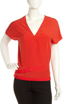 Cacharel Crepe Wrap-Front Blouse, Red