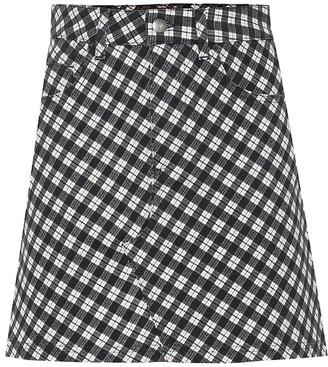 ALEXACHUNG Checked stretch cotton miniskirt