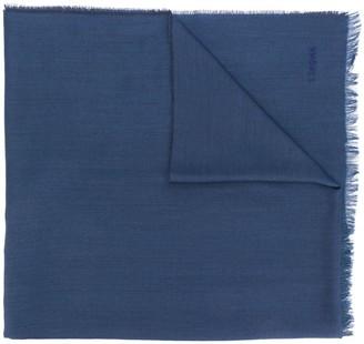 Ermenegildo Zegna logo frayed scarf