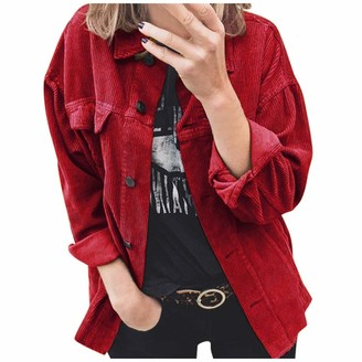 Lazzboy Women Lazzboy Coat Jacket Womens Corduroy Solid Lapel Casual Loose Fit Buttons Newchic Fashion Shirt Cardigan Parka Outwear (M(14)