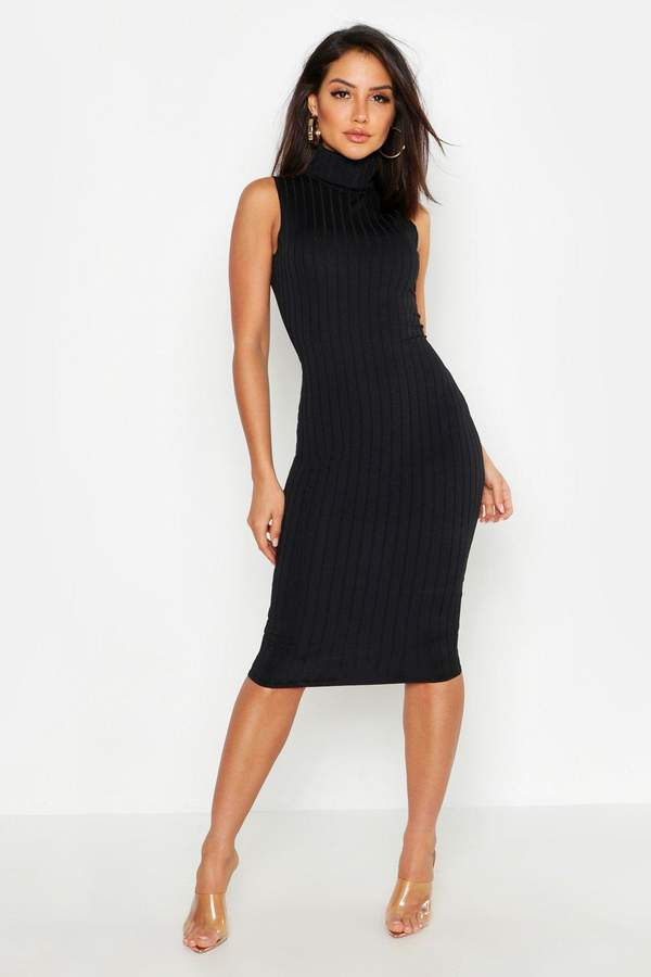 boohoo Ribbed High Neck Sleeveless Midi Dress