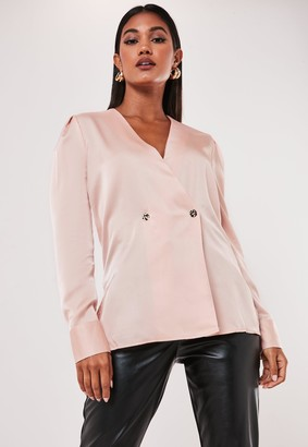 Missguided Rose Wrap Satin Blouse