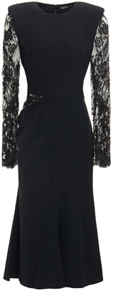 Alexander McQueen Cutout Lace And Crepe Midi Dress