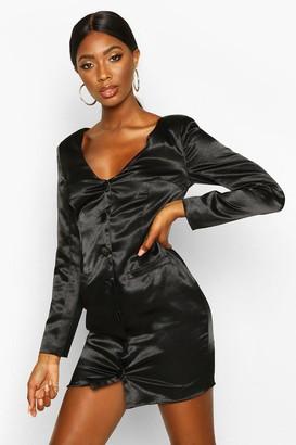 boohoo Satin Off The Shoulder Button Detail Blazer Dress