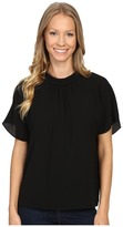 Vince Camuto Short Sleeve Shirred Mock Neck Blouse