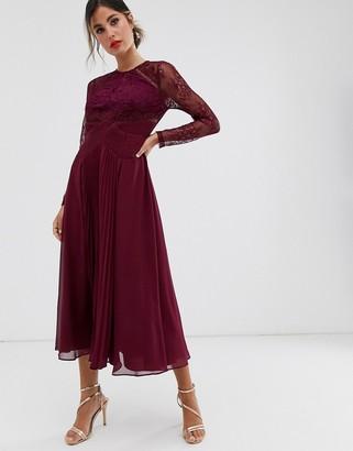Asos Design DESIGN long sleeve lace panelled pleat midi dress-Red