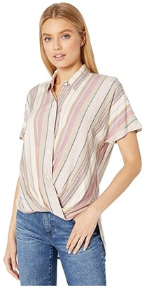 BCBGeneration Wrap Hem Short Sleeve Woven Top THI1216680 (Multi) Women's Blouse