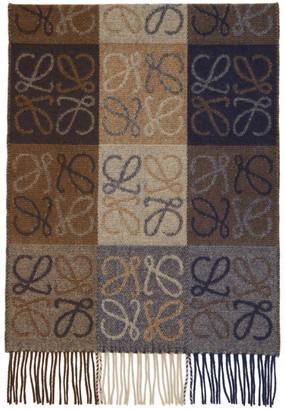 Loewe Navy and Brown Wool Anagram Scarf