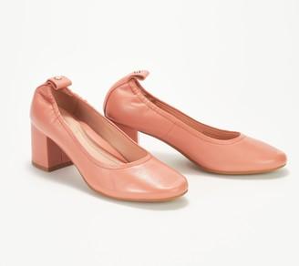 Taryn Rose Leather or Suede Block Heel Pumps - Savannah