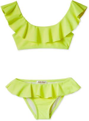 Stella Cove Girls' Neon Draped Bikini Two-Piece Swim Set, 2-14