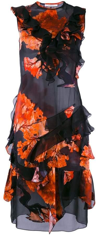 Givenchy ruffle trim printed dress