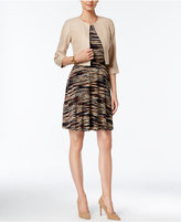 Jessica Howard Petite Belted Fit & Flare Dress and Faux-Suede Jacket