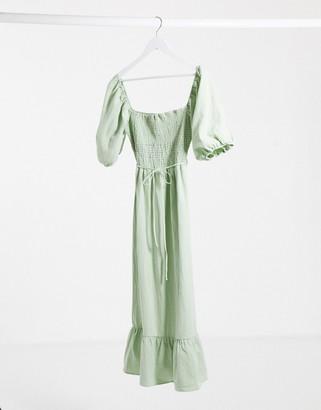 Lola May sage smock maxi dress with puff sleeves