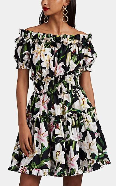 Dolce & Gabbana Women's Lily-Print Cotton Off-The-Shoulder Tiered Dress - Black