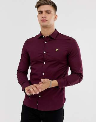 Lyle & Scott slim fit long sleeve poplin shirt in burgundy-Red