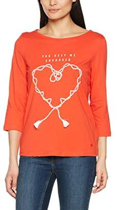 Tom Tailor Women's Basic Print Shirt Long Sleeve Top, Grenadine Red 4556, Small