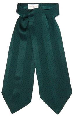 Saint Laurent Spot-print Jacquard-striped Silk Lavalliere - Green Multi