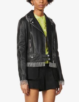 Pinko x Patrick McDowell Sensibile crystal-fringed leather jacket