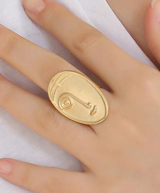 Neva Ross Women's Rings GOLD - 18k Gold-Plated Minimalist Face Ring