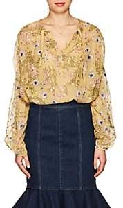 Isabel Marant Women's Mia Floral Silk Peasant Blouse - Yellow