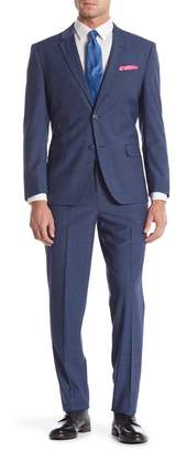 Ben Sherman Bell Blue Micro Check Two Button Notch Lapel Coolmax Fabric Slim Fit Suit