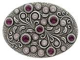 Antique Silver Brass Oval Engraved Crystal Rhinestone Belt BuckleMultiple Colors